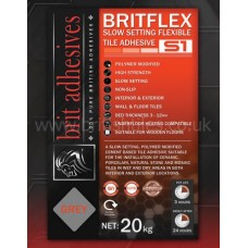 Britflex S1 Slowset grey single part wall and floor adhesive 20 kg by Brit Adhesives
