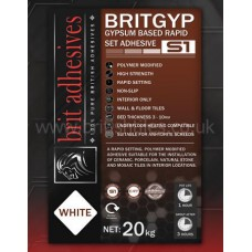 Britgyp Rapidset S1 white single part wall and floor adhesive 20 kg by Brit Adhesives