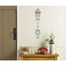 Original Style 5-Tile Set on Colonial White Raised-Line Tiles Rose And Bud 152 x 152mm | 6 x 6inch 6083B