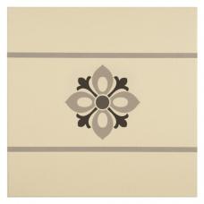Bohemia Border Light Grey, Dark Grey and Black on White tile 8005V Odyssey Primo Original Style