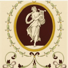 Original Style 5-Tile Set With Harp On Colonial White Cameo Carousel 152 x 152mm | 6 x 6inch 6006B