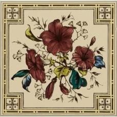 Original Style 5-Tile Set On Colonial White Poppy And Wheatsheaf 152 x 152mm | 6 x 6inch 6003B