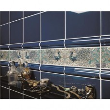 Original Style 2-Tile Set on Brilliant White William De Morgan Peacock Border 152 x 76mm | 6 x 3 inch 6960A
